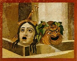 Máscaras de teatro griego en una pintura pompeyana