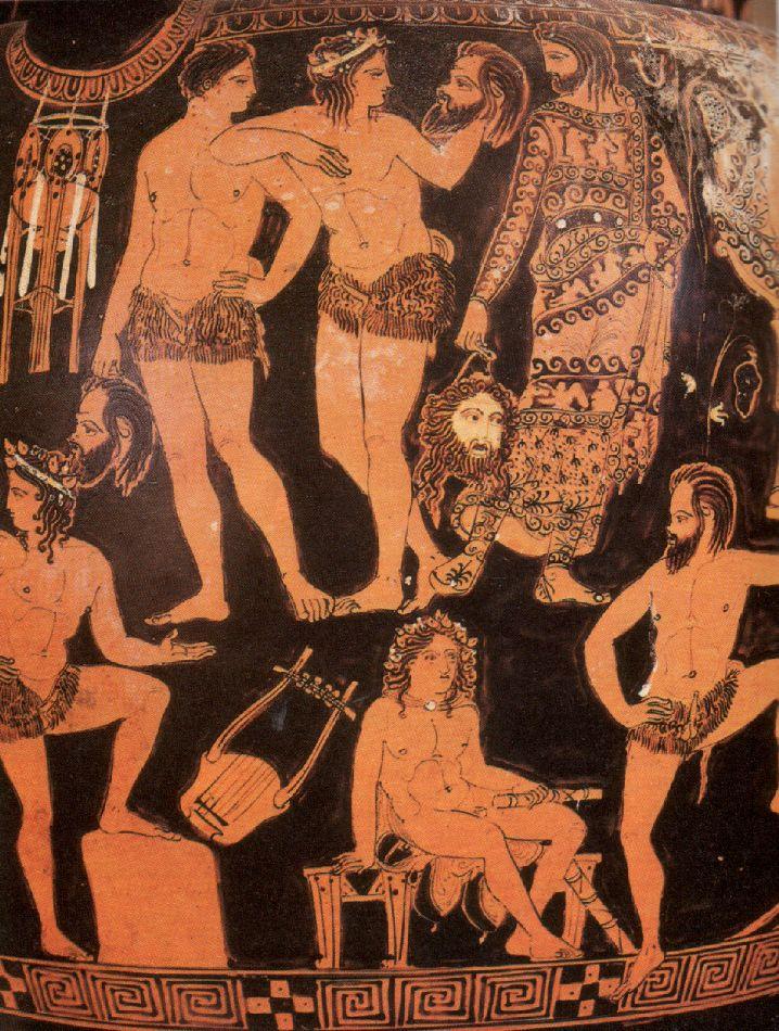 Actores griegos con sus máscaras
